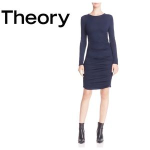 Theory Navy ruched dress. NWT